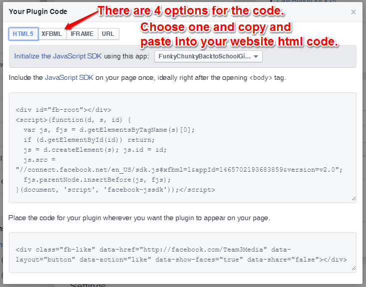 Facebook Like Button Code Page
